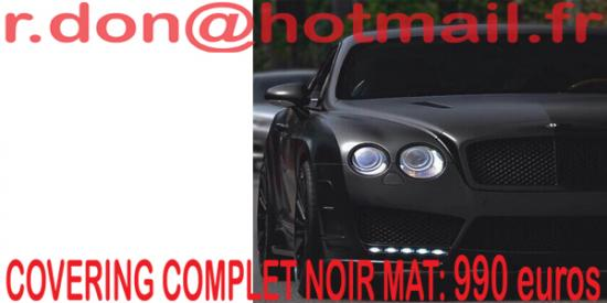 Le Covering noir Mat est un  moyen idéal pour embellir votre auto.
