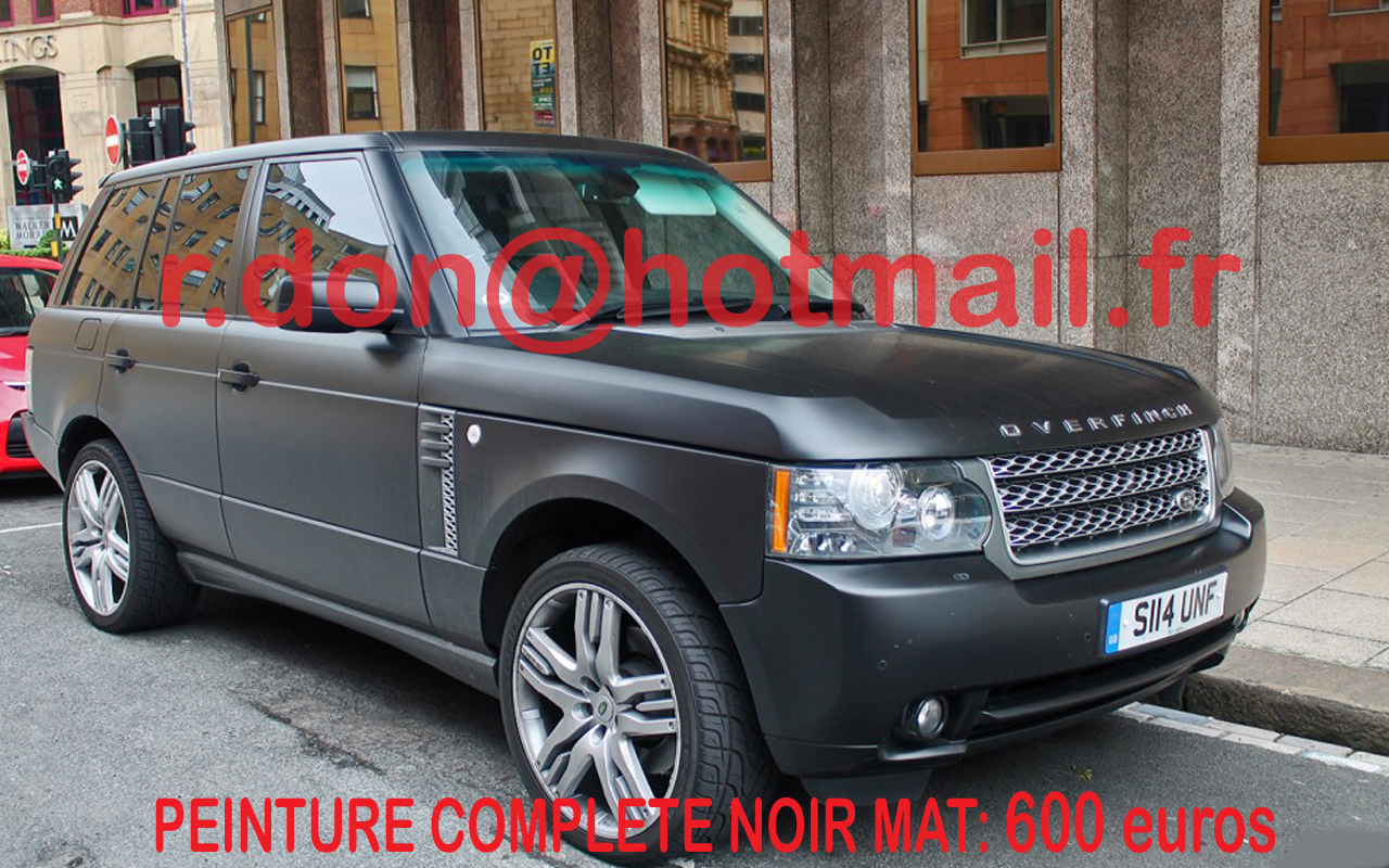range rover noir mat pose film covering auto range rover carrosserie noir mat peinture noir. Black Bedroom Furniture Sets. Home Design Ideas