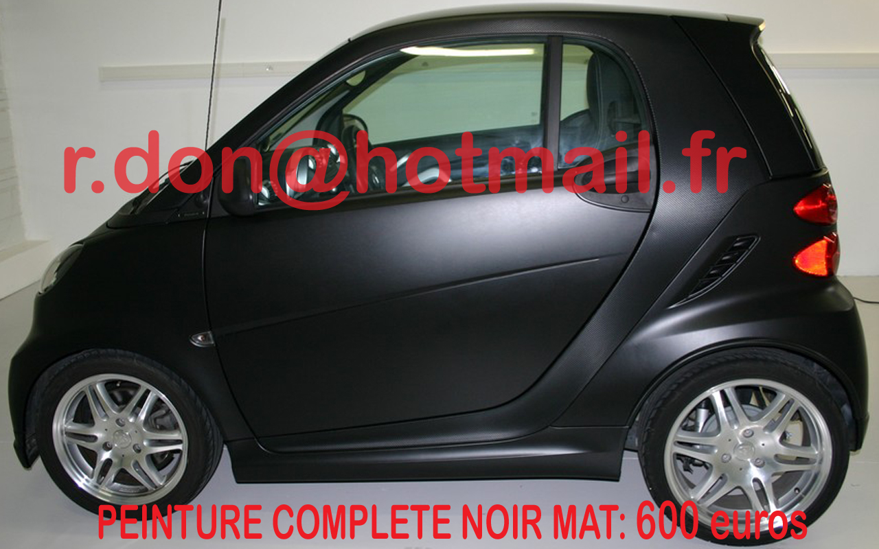 smart for two peinture noir mat auto black matte auto smart fortwo personnalisation vehicule. Black Bedroom Furniture Sets. Home Design Ideas